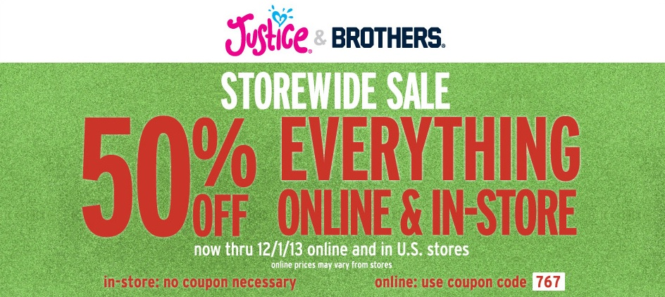 Justice clothing store coupon