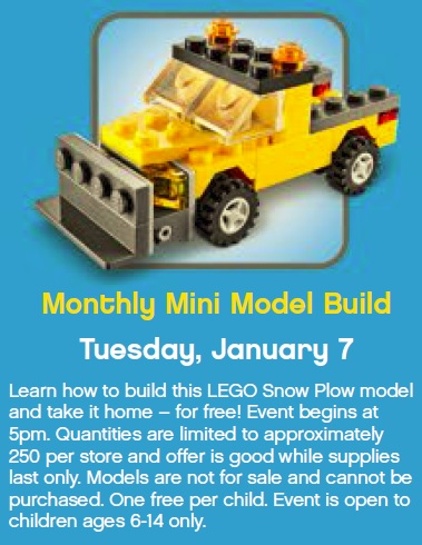 Lego Store Build Event January 7th on oscar mayer bacon coupon 2013