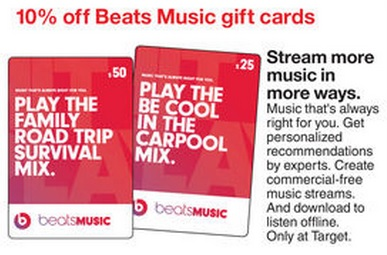 Target – Beats Music Gift Card Deal – Coupons Are My Currency