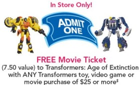 Transfomers movie ticket tru